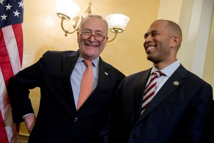 Senate Minority Leader Chuck Schumer (left) and Rep. Hakeem Jeffries are teaming up to try to declassify marijuana as a contr