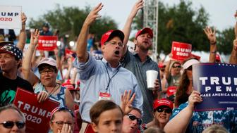 Supporters of President Donald Trump wait for his arrival to speak at a rally at Aaron Bessant Amphitheater, Wednesday, May 8, 2019, in Panama City Beach, Fla. (AP Photo/Evan Vucci)
