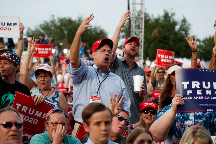 Supporters of President Donald Trump at a campaign rally in Panama City Beach, Florida, on May 8, 2019.