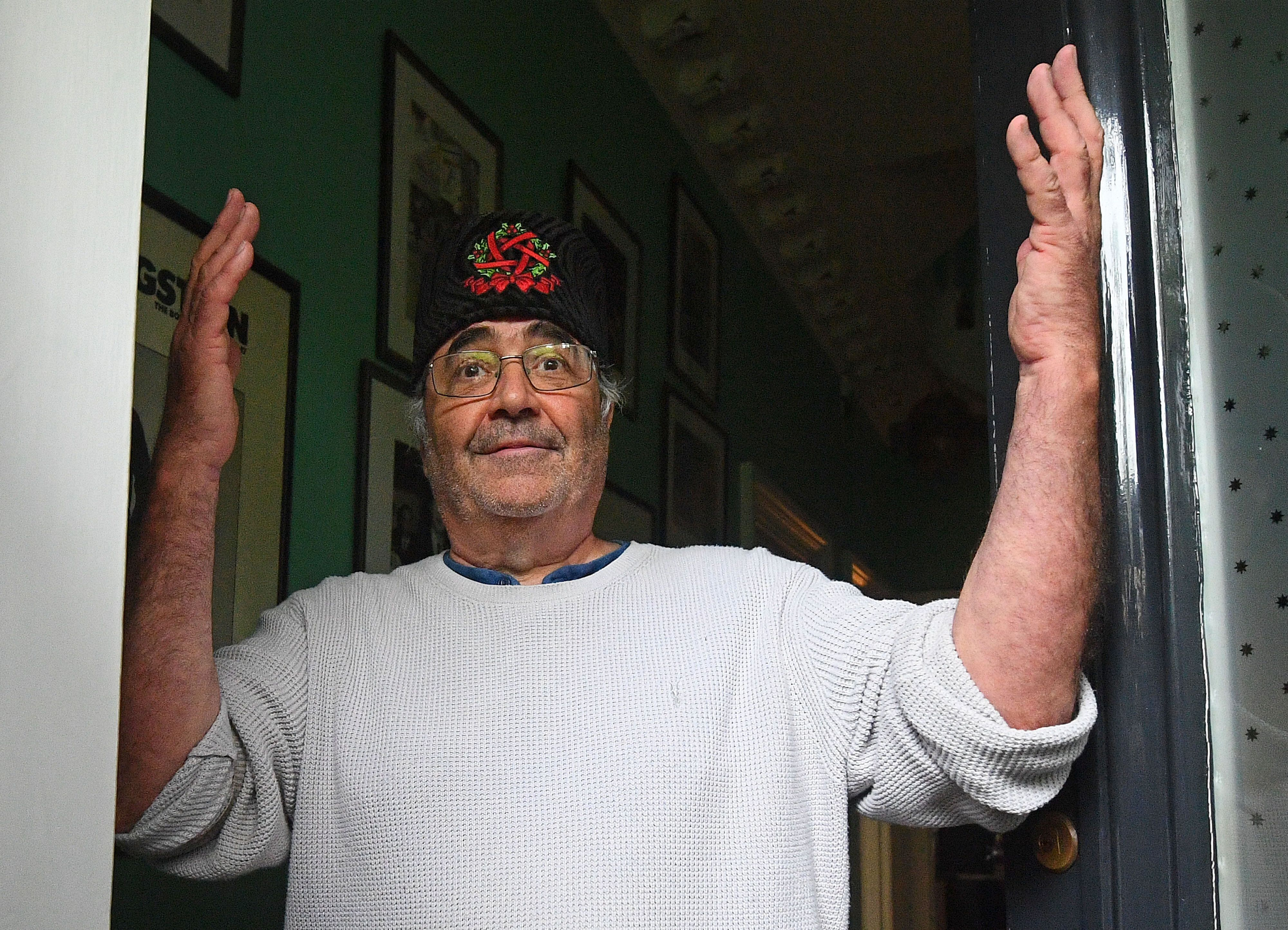 Danny Baker is seenat his London home after he was fired by BBC Radio 5 Live for tweeting a joke about the Duke and Duc