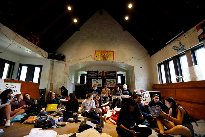 Protesting Swarthmore College students stage a sit-in at the Phi Psi fraternity house on April 29.