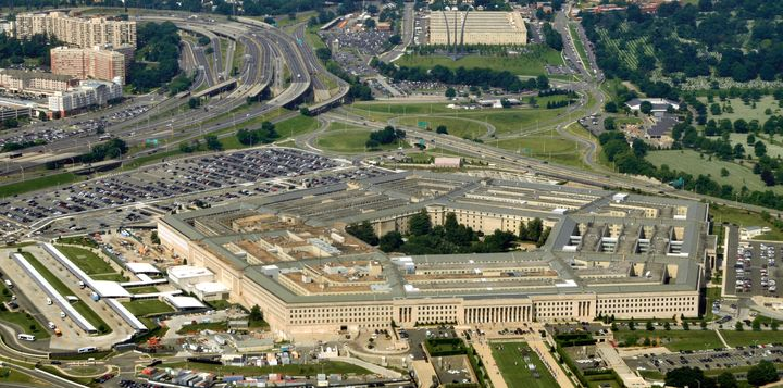 Aerial of the Pentagon, the Department of Defense headquarters in Arlington, Virginia, near Washington DC, with I-395 freeway
