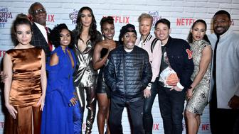 "NEW YORK, NY - NOVEMBER 11: Sydney Morton, Chyna Layne, Ilfenesh Hadera, DeWanda Wise, Spike Lee, Tonya Lewis Lee, Anthony Ramos, Margot Bingham, and Lyriq Bent attend the Netflix Original Series ""She's Gotta Have It"" Premiere at Brooklyn Academy of Music on November 11, 2017 in New York City.  (Photo by Steven Ferdman/Patrick McMullan via Getty Images)"