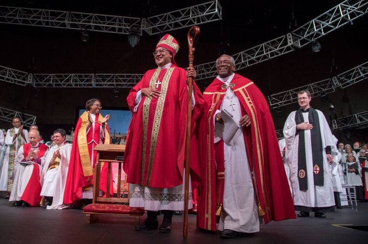 Rev. Phoebe Roaf (center), flanked by Bishop Michael B. Curry, is consecrated a bishop in Hope Church in Memphis on May 4, 20