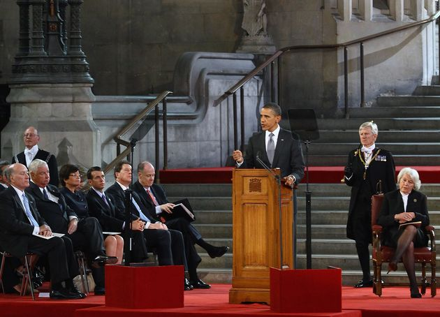 Barack Obama addresses members of parliament in Westminster Hall in