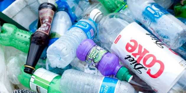 Plastic bottles await recycling at the Glastonbury Festival, at Worthy Farm in