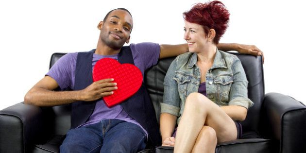 young black male and white female celebrating Valentines Day