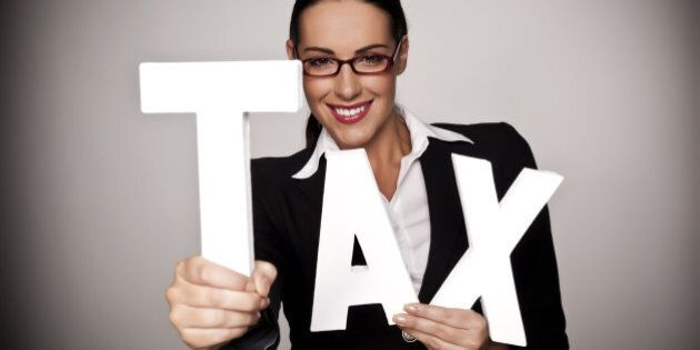 a businesswoman holding letters ...