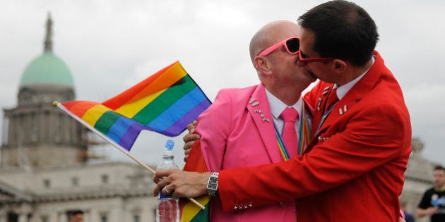 DUBLIN, IRELAND - JUNE 27: People take part in the annual Gay Pride Parade on June 27, 2015 in Dublin,...