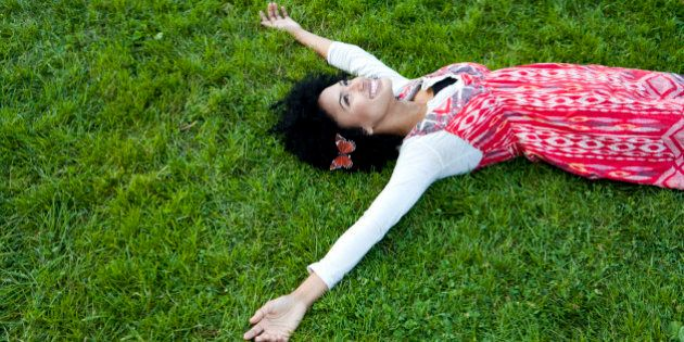 Young woman lying on