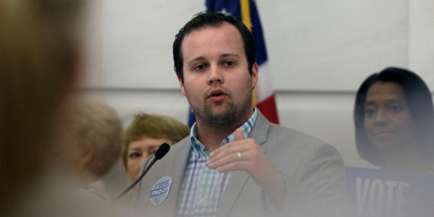 Josh Duggar, executive director of FRC Action, speaks in favor the Pain-Capable Unborn Child Protection Act at the Arkansas state Capitol in Little Rock, Ark., Friday, Aug. 29, 2014. (AP Photo/Danny Johnston)
