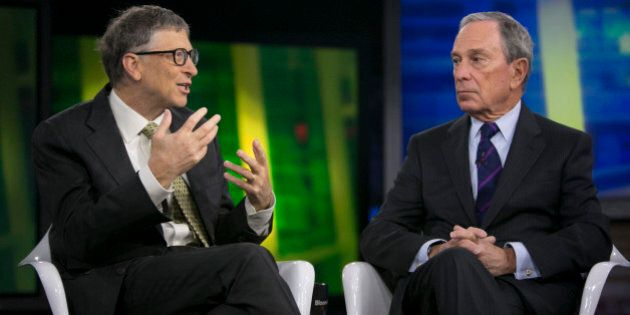 Billionaire Bill Gates, chairman and founder of Microsoft Corp., left, and Michael 'Mike' Bloomberg,...