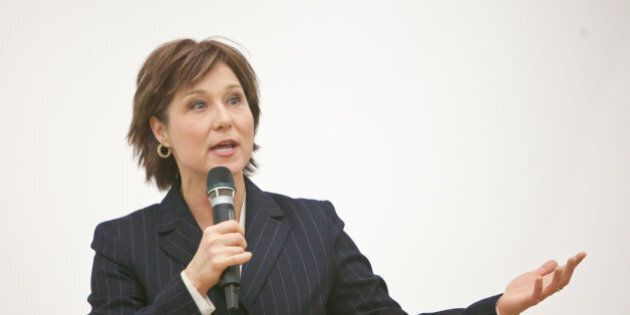 BC Liberal party leadership candidate Christy Clark addresses Vancouver arts & culture community at the Rennie Collection in the Wing Sang Building. Chinatown, Vancouver.