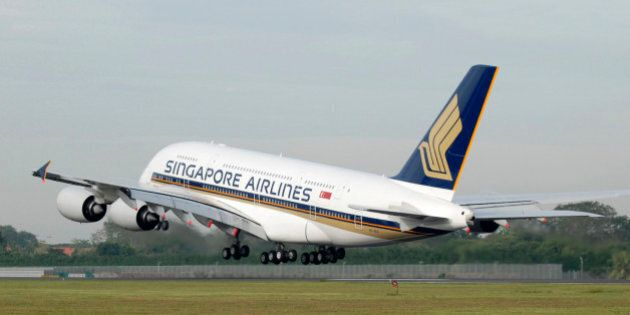 Singapore Airlines Airbus A380 takes off from the runway at Changi International Airport for Sydney,...