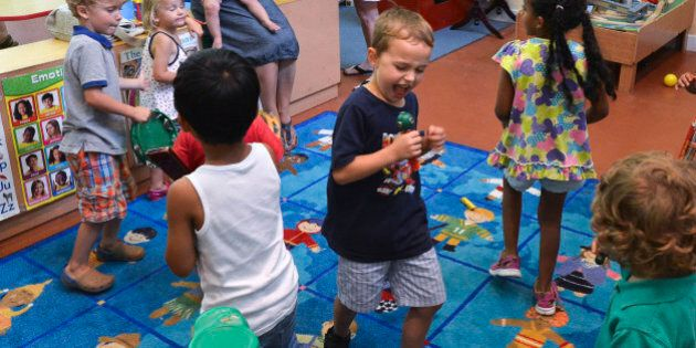 TORONTO, ON - AUGUST 30 - The dance party is in full swing.The daycare had a bit of a party to honour...