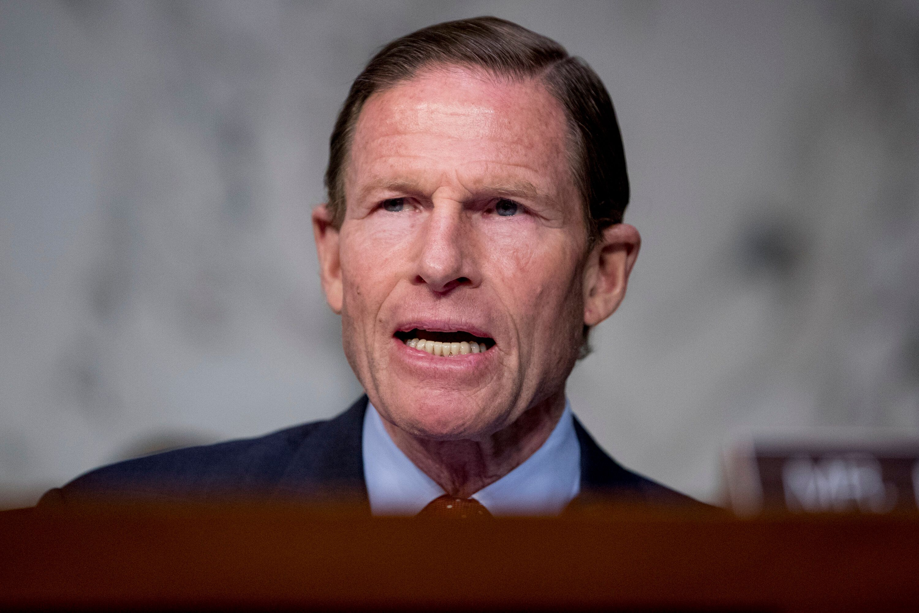 Sen. Richard Blumenthal, D-Conn., speaks as Federal Aviation Administration Acting Administrator Daniel Elwell, National Transportation Safety Board Chairman Robert Sumwalt, and Department of Transportation Inspector General Calvin Scovel appear before a Senate Transportation subcommittee hearing on commercial airline safety, on Capitol Hill, Wednesday, March 27, 2019, in Washington. Two recent Boeing 737 MAX crashes, in Ethiopia and Indonesia, which killed nearly 350 people, have lead to the temporary grounding of models of the aircraft and to increased scrutiny of the FAA's delegation of a number of aspects of the certification process to the aircraft manufacturers themselves. (AP Photo/Andrew Harnik)