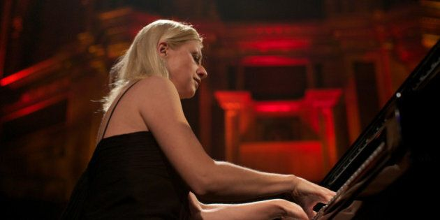 Ukraine-born classical pianist Valentina Lisitsa performs live on stage at the Royal Albert Hall in London...