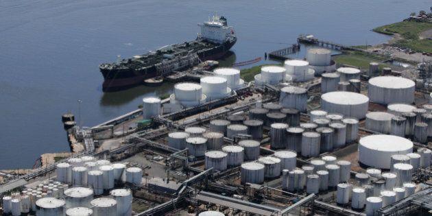 An oil tanker is docked at the Kinder Morgan terminal on Sept. 8, 2008 in Carteret, N.J. Kinder Morgan...