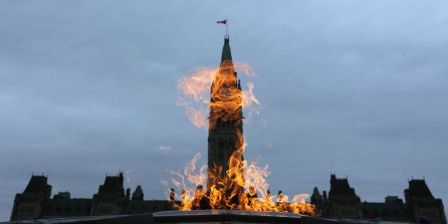 OTTAWA, ON - NOVEMBER 10:The Centennial Flame, lit in 1967 by Lester B. Pearson burns on Parliament Hill....
