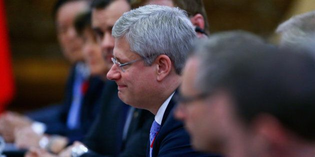 BEIJING, CHINA - NOVEMBER 09: Canadian Prime Minister Stephen Harper holds meetings with Chinese President...