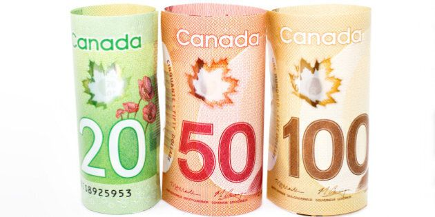 canada money money on the white ...