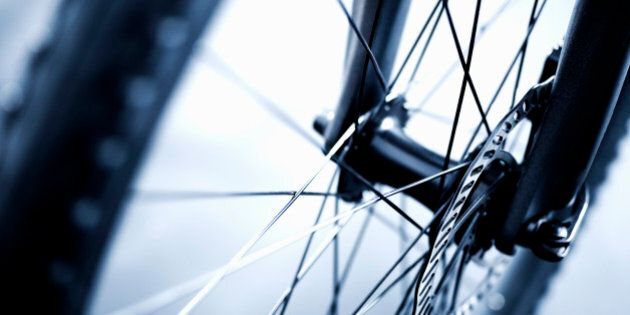 Close up of bicycle wheel