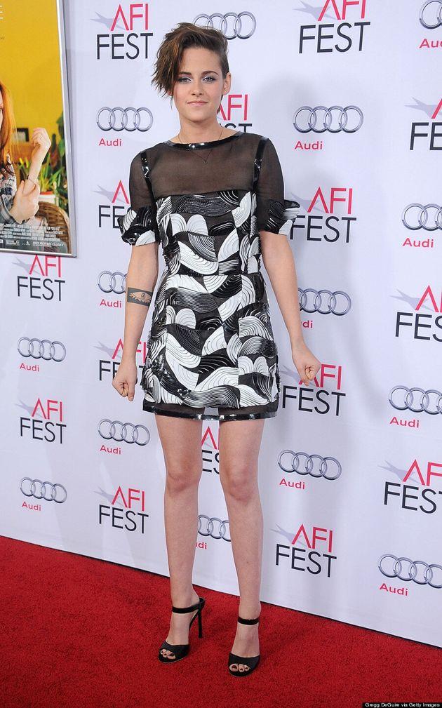 Kristen Stewart Bares A Lot Of Leg In Sexy Sheer