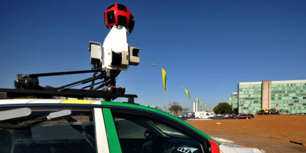 The Google street view mapping and camera charts the streets of Brasília, Brazil's capital, on September...