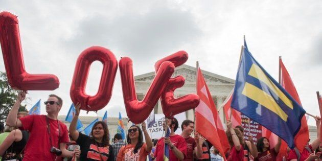 IMAGE DISTRIBUTED FOR HUMAN RIGHTS CAMPAIGN - Marriage equality supporters rally on the steps of the...