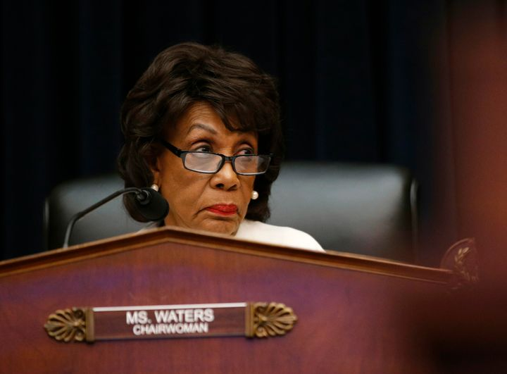 Rep. Maxine Waters (D-Calif.) chairs a House Financial Services Committee hearing with leaders of major banks on April 10.