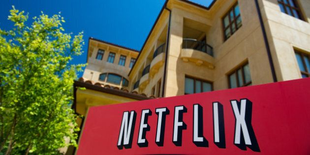 The Netflix Inc. logo is displayed at the entrance to the company's headquarters in Los Gatos, California, U.S., on Thursday, July 21, 2011. Neflix Inc. will be reporting their second quarter results on July 25 2011. Photographer: David Paul Morris/Bloomberg via Getty Images
