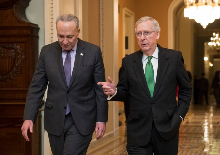 Senate Minority Leader Chuck Schumer (D-N.Y.), left, and Senate Majority Leader Mitch McConnell (R-Ky.) have been at odds ove
