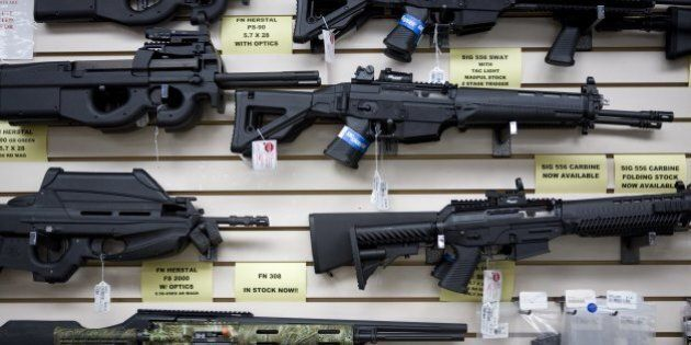SAN ANTONIO, TEXAS - JUNE 17: Semi-automatic weapons for sale are on display at Texas Gun, one of the...