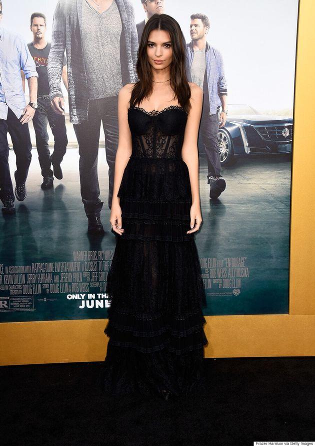 Emily Ratajkowski Wears Lingerie-Inspired Dress To 'Entourage'