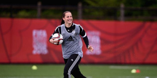 OTTAWA, ON - JUNE 02:  Laura Benkarth of Germany practices during a morning traning session at Richcraft Recreation Complex on June 2, 2015 in Ottawa, Canada.  (Photo by Dennis Grombkowski/Bongarts/Getty Images)