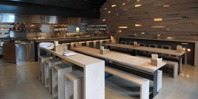 TORONTO, ON - SEPTEMBER 19: Overall of the floor of the dining area. Momofuku the creation of superstar...