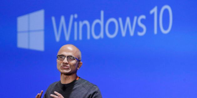 FILE - In this Jan. 21, 2015 file photo, Microsoft CEO Satya Nadella speaks at an event demonstrating...