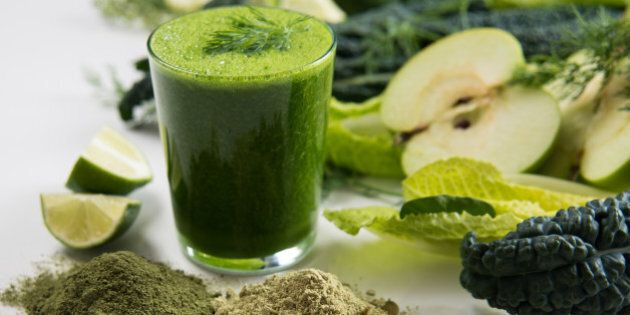 Fresh Juice Smoothie Made with Organic Greens, Spirulina, Protein