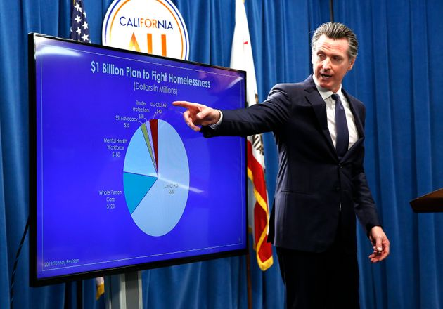 Newsom details his homelessness spending on Thursday with a pie