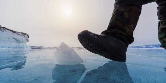 Frozen Lake Baikal and human