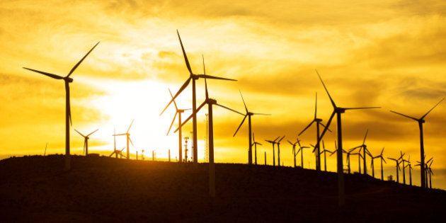 windmills, air turbines, sunset, palm springs, orange, renewable energy, green energy, green, wind