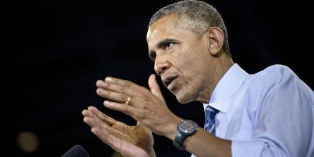 US President Barack Obama speaks at Georgia Tech on March 10, 2015 in Atlanta, Georgia. Obama spoke about making collage more affordable. AFP PHOTO/BRENDAN SMIALOWSKI (Photo credit should read BRENDAN SMIALOWSKI/AFP/Getty Images)