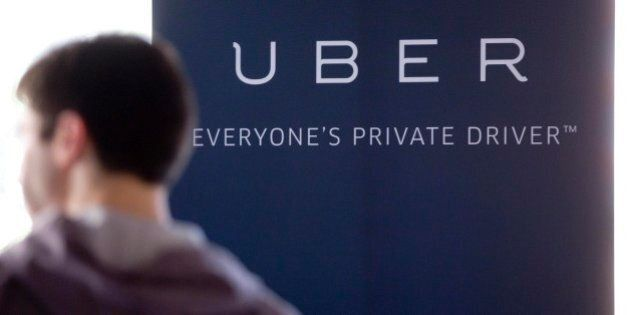 Uber Technologies Inc. signage stands inside the company's office prior to Senator Marco Rubio, a Republican...