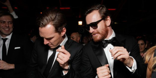 IMAGE DISTRIBUTED FOR FOX - Benedict Cumberbatch, left, and Michael Fassbender attend the FOX after party for the 71st Annual Golden Globes award show on Sunday, Jan. 12, 2014 in Beverly Hills, Calif. (Photo by Todd Williamson/Invision for FOX Broadcasting Company/AP Images)