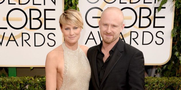BEVERLY HILLS, CA - JANUARY 12: Actors Robin Wright (L) and Ben Foster attend the 71st Annual Golden...