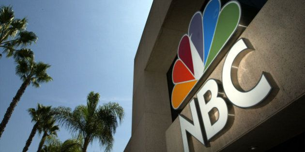 BURBANK, CA - AUGUST 28: The NBC peacock logo is seen on the NBC studios building August 28, 2003 in...