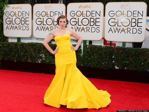 Lena Dunham Golden Globes 2014: 'Girls' Star Goes Bold In Yellow Gown