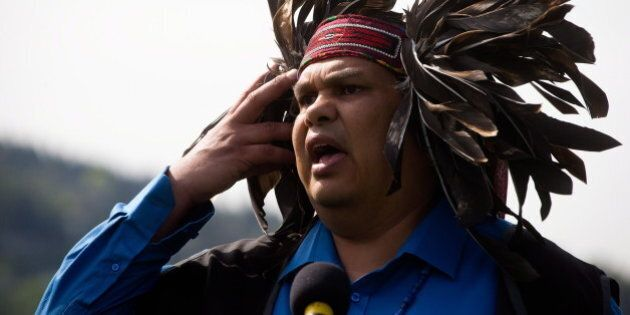 Rueben George, project manager of Sacred Trust with the Tsleil-Waututh First Nation, speaks during a...