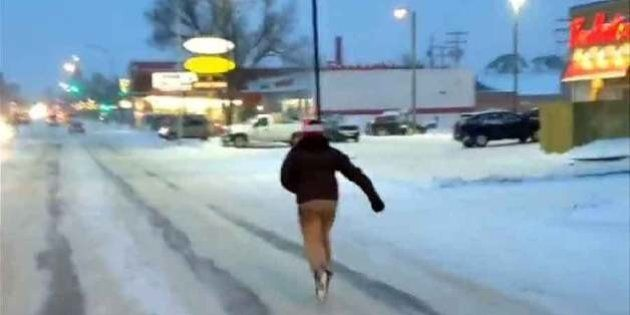 Road Skating In Icy Moose Jaw Past A Timmies Is So Very Canadian