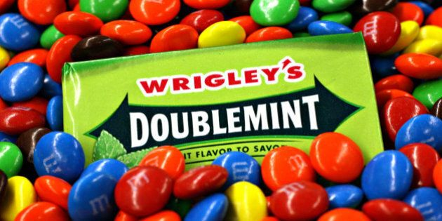 UNITED STATES - APRIL 28: Wrigley's chewing gum and M&M's candy are arranged for a photo in New York,...